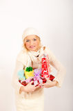 Winter Woman And Many Christmas Present Stock Image