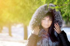 Winter woman on background of winter landscape Stock Photos