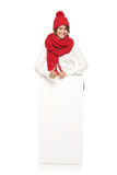 Winter woman with banner Stock Image
