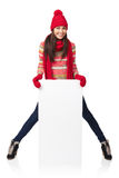 Winter woman with banner Stock Photo
