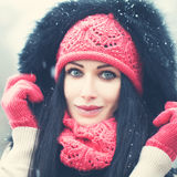 Winter Woman. Beautiful Face Stock Image