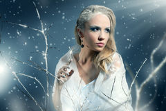 Winter woman with beautiful make-up. On black background Royalty Free Stock Images