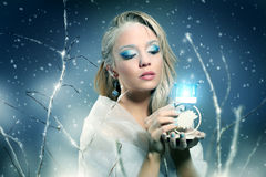 Winter woman with beautiful make-up Stock Photography