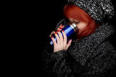 Winter woman with big blue cup Stock Photos
