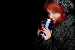 Winter woman with big blue cup Royalty Free Stock Photography