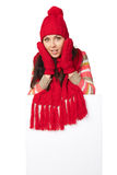Winter woman with blank banner Royalty Free Stock Photos