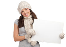 Winter woman with blank billboard Stock Photography