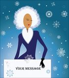 Winter Woman with blank sign  Stock Image