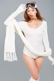 WInter woman in body sweater Royalty Free Stock Photos