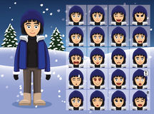 Winter Woman Cartoon Emotion faces Vector Illustration Royalty Free Stock Photo