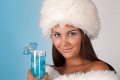 Winter woman with cocktail Royalty Free Stock Photography