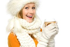 Winter woman with coffee Stock Photography
