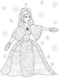 Winter woman coloring vector for adults Royalty Free Stock Photography