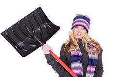 Winter: Woman Doesn't Want To Shovel Snow Royalty Free Stock Photography