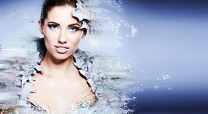 Winter woman in a dress of Snow Queen Stock Photography