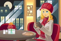 Winter woman drinking coffee. A vector illustration of a beautiful winter woman drinking coffee in a cafe Stock Photography