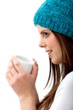 Winter woman drinking hot chocolate Stock Photos