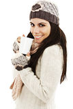 Winter woman drinking tea Stock Image