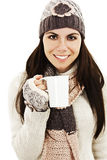 Winter woman drinking tea Royalty Free Stock Images