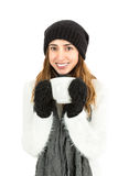 Winter woman drinking tea Royalty Free Stock Photo