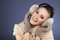 Winter woman with ear muff Stock Photo