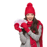 Winter woman with euro money Stock Photography