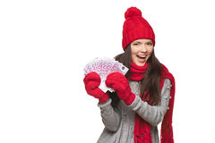 Winter woman with euro money Royalty Free Stock Photography
