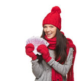 Winter woman with euro money Royalty Free Stock Photos