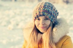 Winter Woman Face happy smiling Royalty Free Stock Images