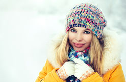 Winter Woman Face happy smiling Royalty Free Stock Image