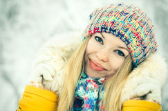 Winter Woman Face happy smiling Stock Image