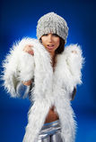 Winter woman, fantasy fashion Royalty Free Stock Photo