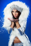 Winter woman, fantasy fashion Stock Photos