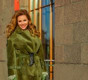 Winter woman fashion model smiling outdoors royalty free stock photography