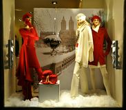 Winter woman fashion store in Italy  Royalty Free Stock Photography