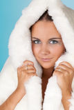 Winter woman with fur coat Stock Photo