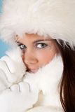 Winter woman with fur hat stock photo