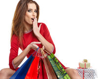 Winter woman with gifts Royalty Free Stock Photography