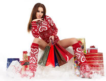 Winter woman with gifts Stock Photography
