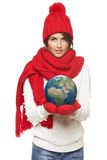 Winter woman with globe Royalty Free Stock Images