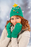 Winter woman with hat of Christmas tree Stock Photo