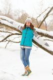 Winter woman have fun outdoors Royalty Free Stock Image