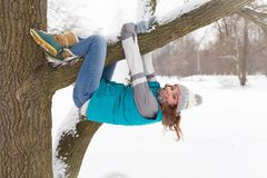 Winter woman have fun outdoors Royalty Free Stock Photos