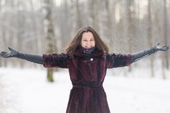 Winter woman have fun outdoors Stock Photography