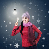 Winter Woman Having An Idea Stock Images
