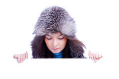 Winter woman hold banner Stock Photo