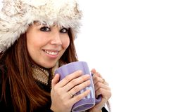 Winter woman with hot drink Royalty Free Stock Image