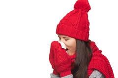 Winter woman ill Stock Photos
