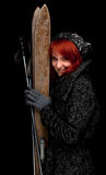 Winter woman keeping old wooden skis Stock Photos