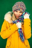 Winter Woman in knitting hat and scarf Fashion clothing outdoor Lifestyle Stock Photos